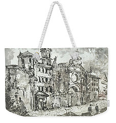 Weekender Tote Bag featuring the painting Piranesi Paraphrase After Piranesi Vedute Di Roma by Martin Stankewitz