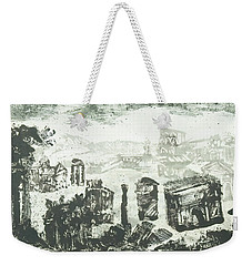 Weekender Tote Bag featuring the painting Piranesi Paraphrase Campo Vaccino by Martin Stankewitz