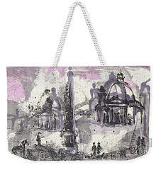 Weekender Tote Bag featuring the painting Piranesi Paraphrase No. 40, View Of The Piazza Del Popolo by Martin Stankewitz