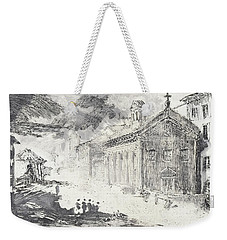 Weekender Tote Bag featuring the painting Piranesi Paraphrase No. 51 Tempio Delle Fortuna Virile, Now Santa Maria Egiziaca by Martin Stankewitz