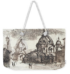 Weekender Tote Bag featuring the painting Piranesi Paraphrase No.42, Veduta Delle Due Chiese by Martin Stankewitz