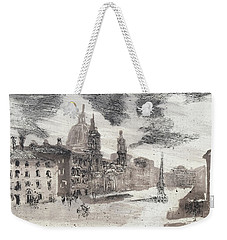 Weekender Tote Bag featuring the painting Piranesi Paraphrase No.46, Piazza Navona by Martin Stankewitz