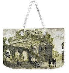Weekender Tote Bag featuring the painting Piranesi Paraphrase No.53 Mausoleum Of Hadrian Castel Sant Angelo by Martin Stankewitz