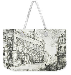 Weekender Tote Bag featuring the painting Piranesi Paraphrase Palazzo Della Consulta On The Quirinal by Martin Stankewitz