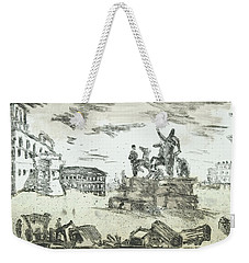 Weekender Tote Bag featuring the painting Piranesi Paraphrase Piazza Die Monte Cavallo by Martin Stankewitz