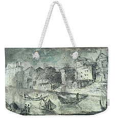 Weekender Tote Bag featuring the painting Piranesi Paraphrase Porto Di Ripetta by Martin Stankewitz