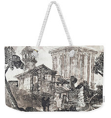 Weekender Tote Bag featuring the painting Piranesi Paraphrase Tempio Della Sibilla In Tivoli by Martin Stankewitz