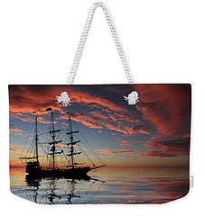 Pirate Ship At Sunset Weekender Tote Bag by Shane Bechler
