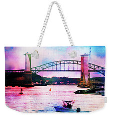 Piscataqua River Bridge From Harborwalk Park, Portsmouth New Hampshire Weekender Tote Bag