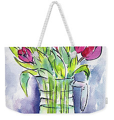 Weekender Tote Bag featuring the painting Pitcher Of Tulips by Pat Katz