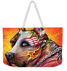Weekender Tote Bag featuring the pastel Pit Bull by Patricia Lintner