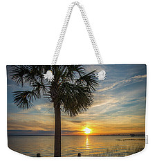 Pitt Street Bridge Palmetto Tree Sunset Weekender Tote Bag