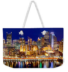 Pittsburgh Pennsylvania Skyline At Night Panorama Weekender Tote Bag