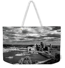 Pittsburgh Skyline With Boat Weekender Tote Bag by Michelle Joseph-Long