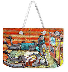Weekender Tote Bag featuring the photograph Pixel Pancho Mural by Jean Haynes