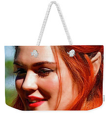 Weekender Tote Bag featuring the photograph Pixie by Kathy Baccari