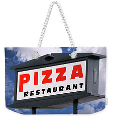 Pizza Restaurant Sign Weekender Tote Bag by Phil Cardamone