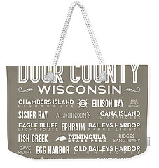 Weekender Tote Bag featuring the digital art Places Of Door County On Brown by Christopher Arndt