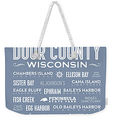 Weekender Tote Bag featuring the digital art Places Of Door County On Light Blue by Christopher Arndt