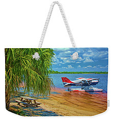 Plane On The Lake Weekender Tote Bag
