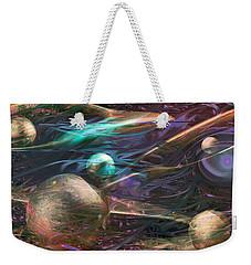 Weekender Tote Bag featuring the digital art Planetary Chaos by Linda Sannuti