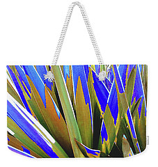 Weekender Tote Bag featuring the photograph Plant Burst - Blue by Rebecca Harman