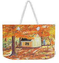 Playhouse In Autumn Weekender Tote Bag by Carol L Miller