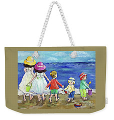 Weekender Tote Bag featuring the painting Playing At The Seashore by Rosemary Aubut