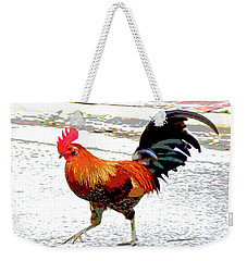 Weekender Tote Bag featuring the mixed media Playing Chicken by Charles Shoup