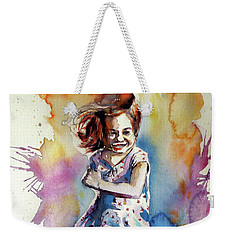 Weekender Tote Bag featuring the painting Playing Girl by Kovacs Anna Brigitta