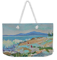 Playing On Schoodic Rocks Weekender Tote Bag