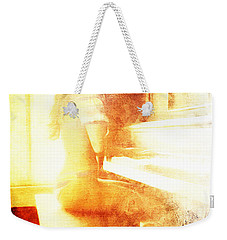 Weekender Tote Bag featuring the digital art Playing Piano At The Window by Andrea Barbieri