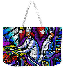 Weekender Tote Bag featuring the painting  Pleasure Of The Food Preparation by Leon Zernitsky