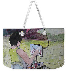 Weekender Tote Bag featuring the painting Plein-air Artist Sandra by Gretchen Allen