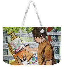 Weekender Tote Bag featuring the painting Plein-air Painter Boy by Gretchen Allen