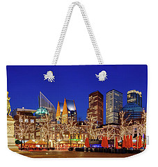 Weekender Tote Bag featuring the photograph Plein At Blue Hour - The Hague by Barry O Carroll