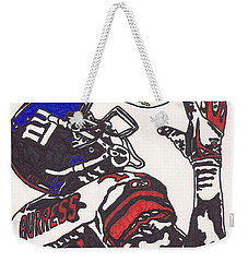 Weekender Tote Bag featuring the drawing Plexico Burress by Jeremiah Colley