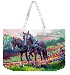 Weekender Tote Bag featuring the painting Ploughing by Paul Weerasekera