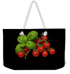 Weekender Tote Bag featuring the photograph Plum Cherry Tomatoes Basil by David French