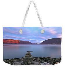 Plum  Point Rock Cairn At Sunset Weekender Tote Bag by Angelo Marcialis