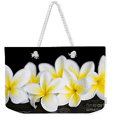 Weekender Tote Bag featuring the photograph Plumeria Obtusa Singapore White by Sharon Mau