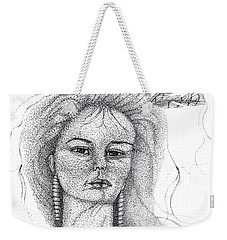 Weekender Tote Bag featuring the drawing Pocahontas by Mayhem Mediums