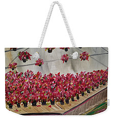 Weekender Tote Bag featuring the painting Poinsettia Greenhouse by Judith Rhue