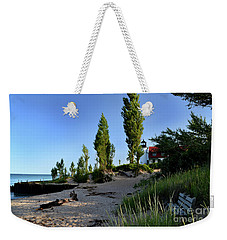 Point Betsie Lighthouse Bench Weekender Tote Bag