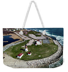 Weekender Tote Bag featuring the photograph Point Judith Easter Cross by Michael Hughes