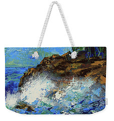 Weekender Tote Bag featuring the painting Point Lobos Crashing Waves by Walter Fahmy