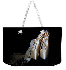 Weekender Tote Bag featuring the photograph Point Shoes And Dog Tags by Laurianna Taylor
