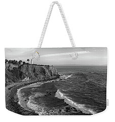 Point Vicente Lighthouse Palos Verdes California - Black And White Weekender Tote Bag