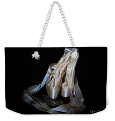 Weekender Tote Bag featuring the photograph Pointe Shoes And Dog Tags1 by Laurianna Taylor