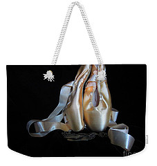 Weekender Tote Bag featuring the photograph Pointe Shoes And Dog Tags2 by Laurianna Taylor